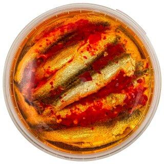 Food-United Fisch – SARDELLEN-FILETS-ORIENTAL 280g in Sonnenblumen-Öl Chili