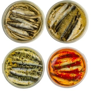 Food-United Fisch-Set-SARDELLENFILETS  4 x 280g - Knoblauch Oriental Zitrone ÖL