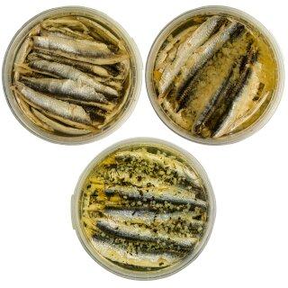 Food-United Fisch-Set - SARDELLENFILETS 3 x 280g - Öl & Zitrone & Knoblauch