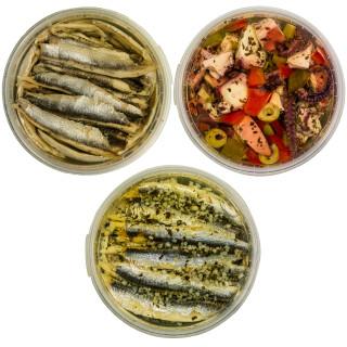 Food-United Antipasti-Set-Paket - SARDELLENFILET-TINTENFISCH - 3 x 280g