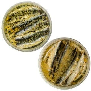 Food-United Fisch-Set – SARDELLEN-FILETS 2 x 280g - Knoblauch & Zitrone