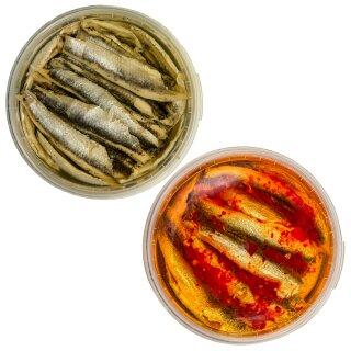 Food-United Fisch-Set - SARDELLEN-FILETS 2 x 280g - Sonnenblumen - Öl & Chili